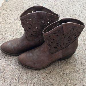 Faux Leather Short Cowboy Boots